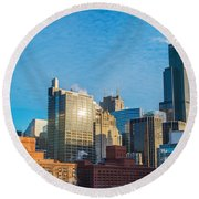 Chicago Cityscape During The Day Round Beach Towel
