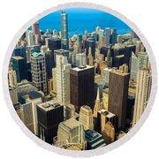 Chicago Cityscape Round Beach Towel