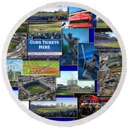 Chicago Cubs Collage Round Beach Towel