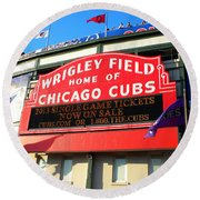 Chicago Cubs Marquee Sign Round Beach Towel