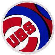 Chicago Cubs Football Round Beach Towel