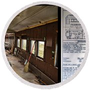 Chicago Eastern Il Rr Business Car Restoration With Blue Print Round Beach Towel