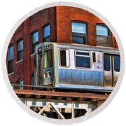 Chicago El And Warehouse Round Beach Towel