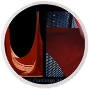 Chicago Flamingo Abstract 01 2 Panel Round Beach Towel