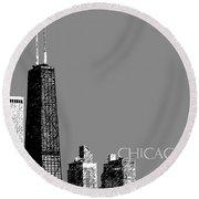 Chicago Hancock Building - Pewter Round Beach Towel
