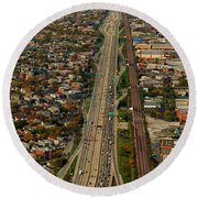 Chicago Highways 01 Round Beach Towel
