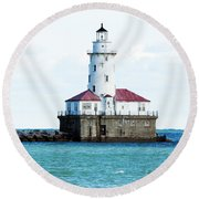 Chicago Illinois Harbor Lighthouse Close Up Usa Round Beach Towel
