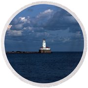 Chicago Illinois Harbor Lighthouse Early Evening Usa Round Beach Towel