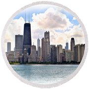 Chicago In The Spotlight Round Beach Towel