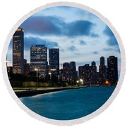 Chicago Lake Front At Blue Hour Round Beach Towel