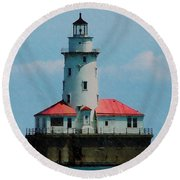 Chicago Lighthouse Round Beach Towel