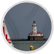 Chicago Lighthouse Round Beach Towel