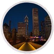 Chicago Lights Round Beach Towel