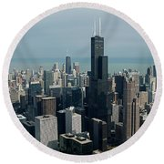 Chicago Looking East 04 Round Beach Towel