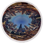 Chicago Looking East Polar View Round Beach Towel by Thomas Woolworth