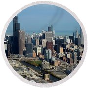 Chicago Looking North 03 Round Beach Towel