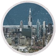 Chicago Looking West In A Snow Storm Digital Art Round Beach Towel