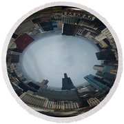 Chicago Looking West Polar View Round Beach Towel