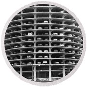Chicago Marina City Parking Bw Round Beach Towel