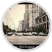 Chicago Michigan Ave Field Museum Art Institute Triptych 3 Panel Round Beach Towel