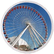 Chicago Navy Pier Ferris Wheel Round Beach Towel