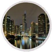 Chicago Night River View Round Beach Towel