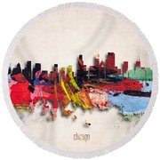 Chicago Painted City Skyline Round Beach Towel