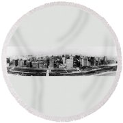 Chicago Panorama 1915 Round Beach Towel