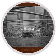 Chicago Pritzker Music Pavillion Sc Triptych 3 Panel Round Beach Towel