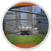 Chicago Pritzker Music Pavillion Triptych 3 Panel Round Beach Towel