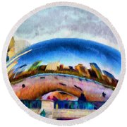 Chicago Reflected Round Beach Towel by Jeff Kolker