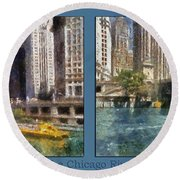 Chicago River 2 Panel Round Beach Towel