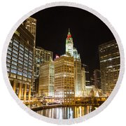 Chicago River Round Beach Towel