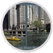 Chicago River Boat Rides 2 Panel Round Beach Towel