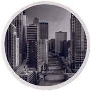 Chicago River Bridges South Bw Round Beach Towel