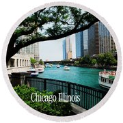 Chicago River Front Round Beach Towel