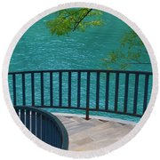 Chicago River Green Round Beach Towel