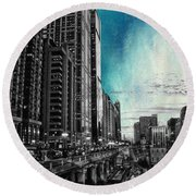 Chicago River Hdr Sc Textured Round Beach Towel