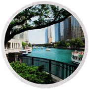 Chicago River Scene Round Beach Towel