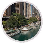 Chicago River Tour Boats Round Beach Towel