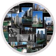 Chicago River Walk Collage Round Beach Towel