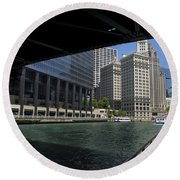 Chicago River Walk Going East 02 Round Beach Towel