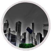 Chicago Skyline 1 Bwc Round Beach Towel