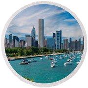 Chicago Skyline Daytime Panoramic Round Beach Towel by Adam Romanowicz