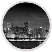 Chicago Skyline At Night Black And White Round Beach Towel by Jon Holiday