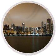 Chicago Skyline - Fog Rolling In Round Beach Towel