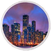 Chicago Skyline From Navy Pier View 2 Round Beach Towel