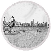 Chicago Skyline Hard Ink Round Beach Towel