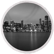 Chicago Skyline In Fog With Reflection - Black And White Round Beach Towel