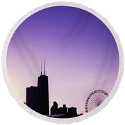 Chicago Skyline Iv Round Beach Towel